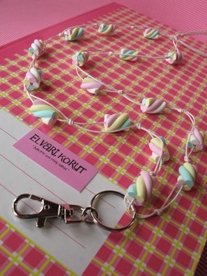 Marshmallow, cotton cord lanyard