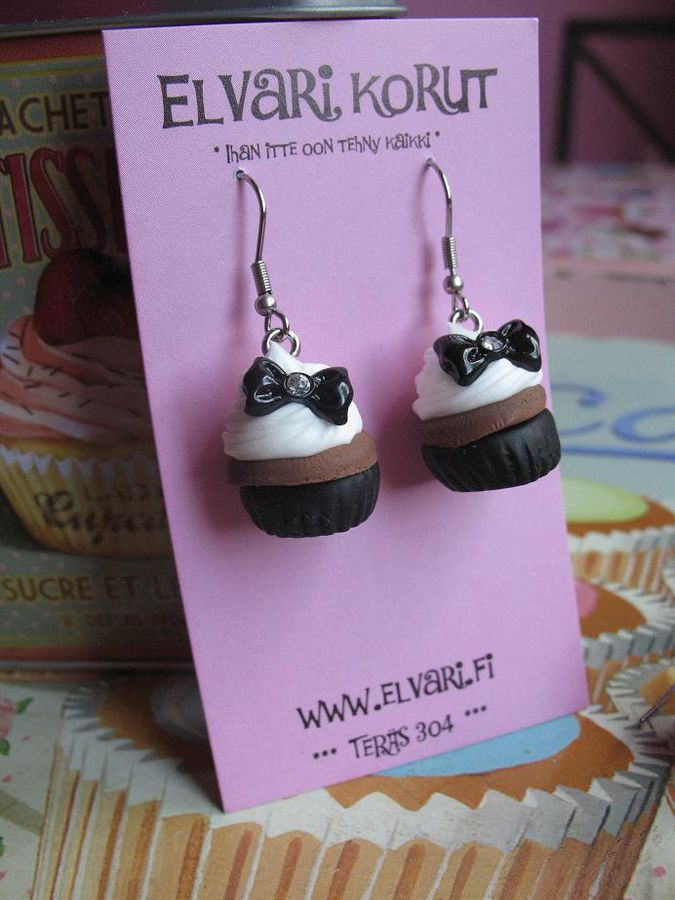 CupCake Bow Black, drop earrings