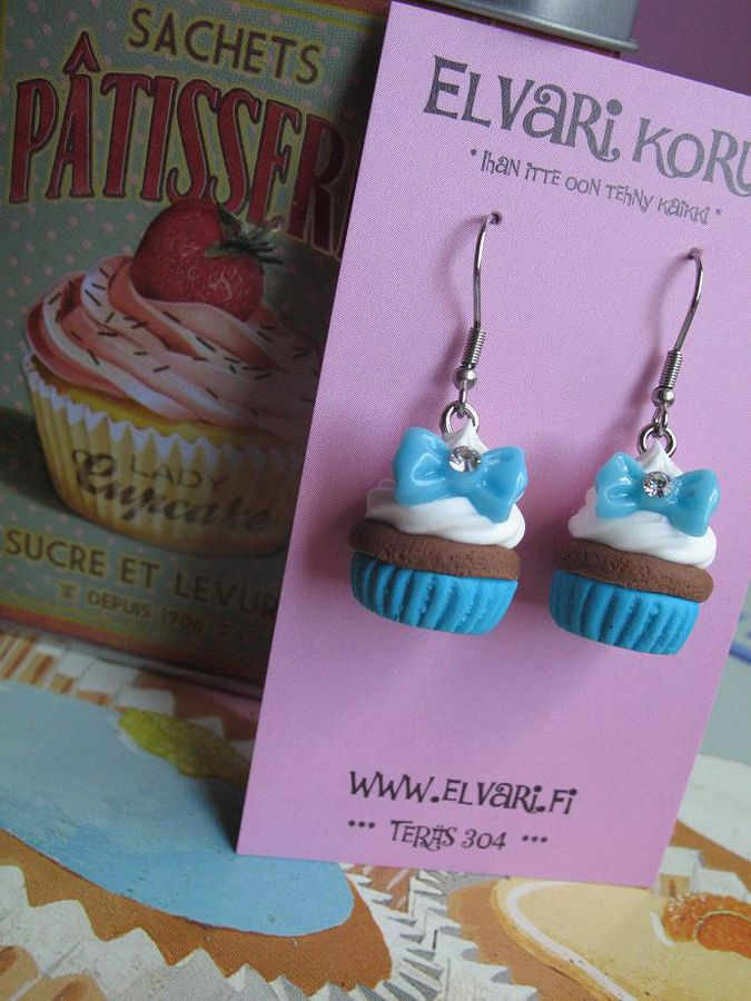 CupCake Bow Turquoise, drop earrings
