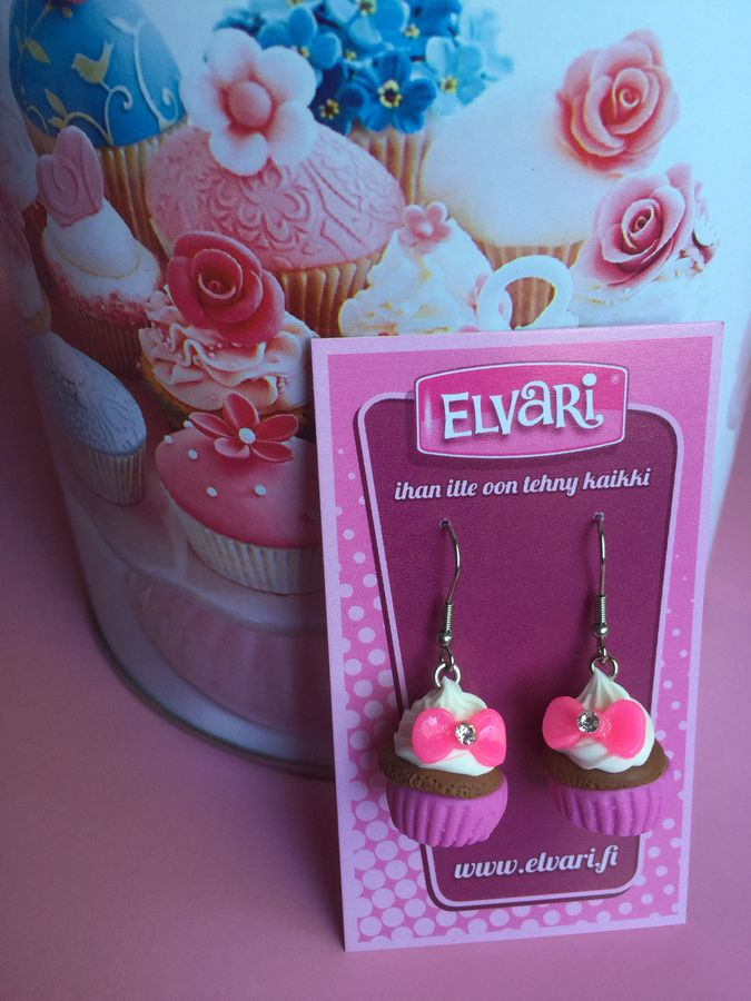 CupCake Bow Pink, drop earrings