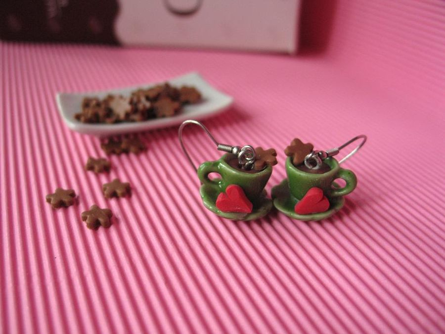 Hot Chocolate Green Cup, drop earrings