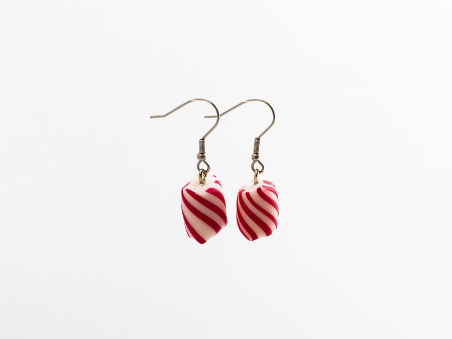 Polkagris, drop earrings