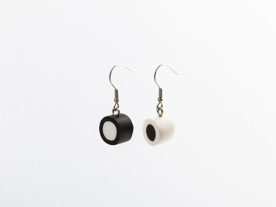 Filled Liquorice Black&White, drop earrings